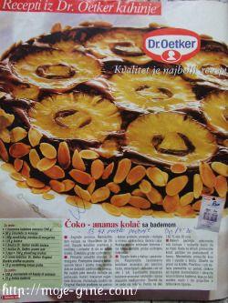 čoko ananas kolač sa bademom