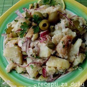 Krompir salata sa belom ribom