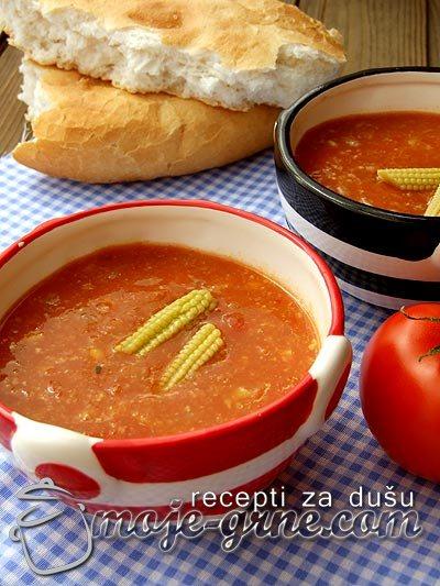 Meksička krem supa od kukuruza i paradajza
