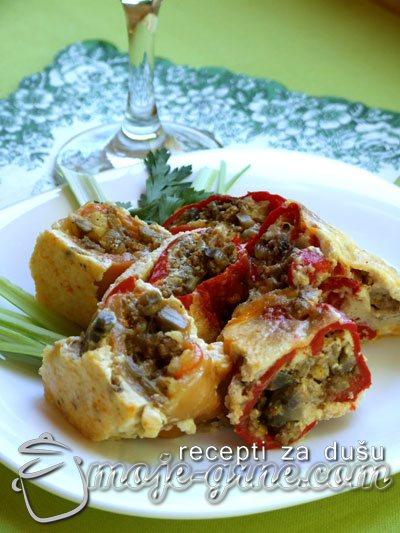 Rolovane pečene paprike sa mlevenim mesom