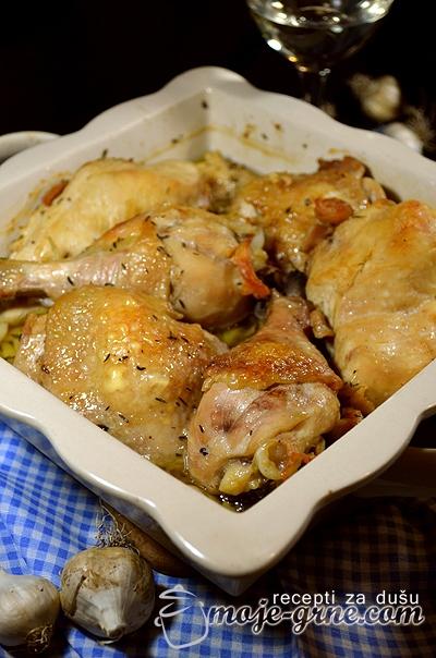 Zapečena piletina sa 40 čenova belog luka