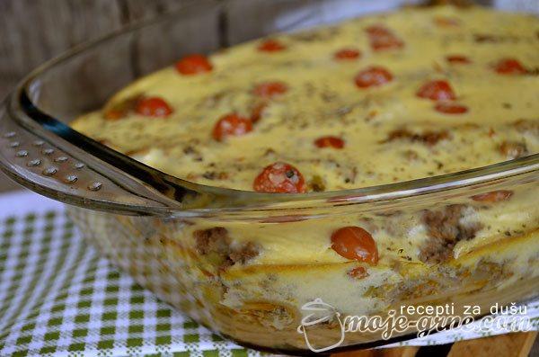 Zapečene špagete sa mesom i čeri paradajzom