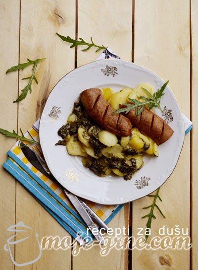 Zapečeni krompir sa keljom i kobasicama