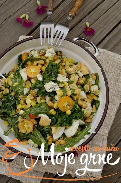 Kikiriki salata sa jajima i zelenišem