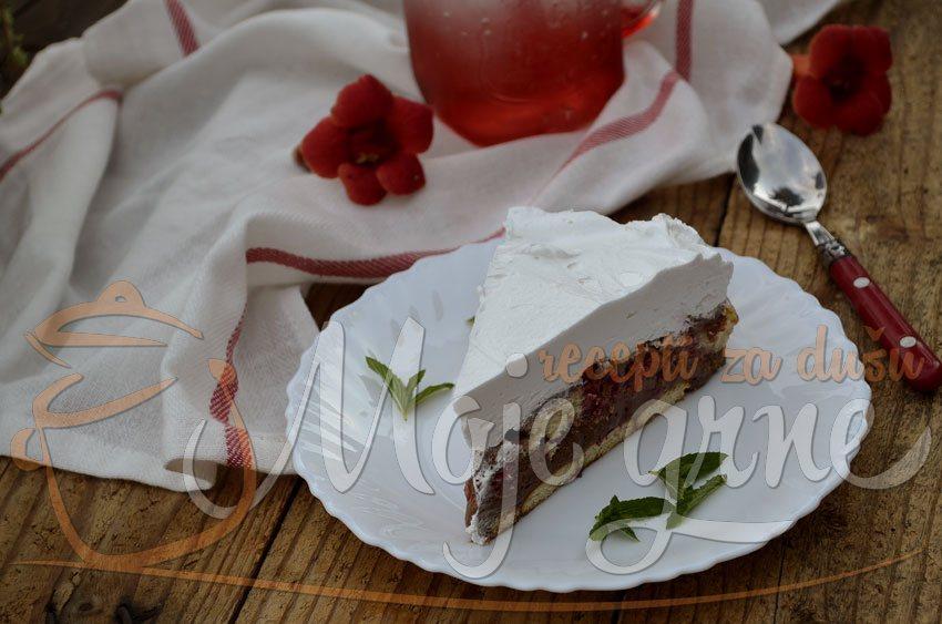 Nepečena čoko - malina torta