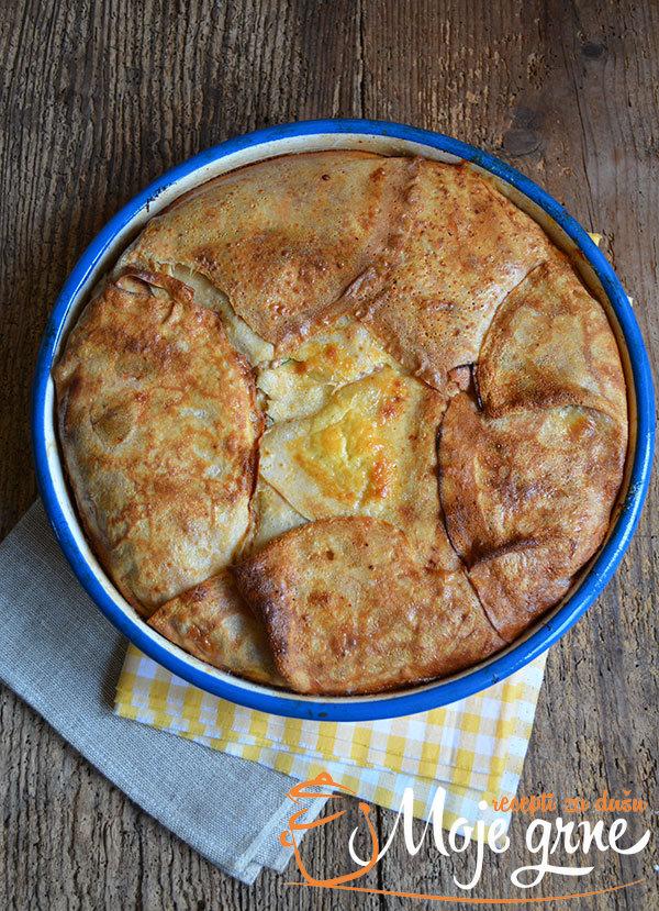 Palačinka pita sa kozjim sirom i šunkom