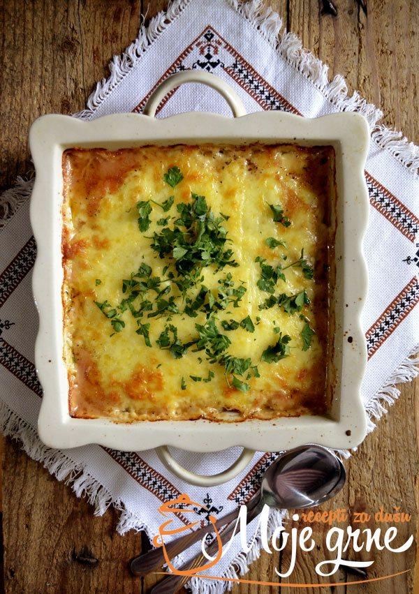 Topljeni sir sa pečurkama i suvim vratom