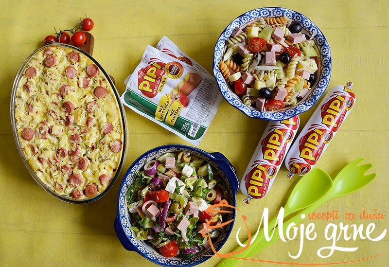 Letnje salate i zapečene makarone sa sirom i viršlama